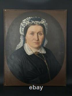Portrait de femme ancien, huile sur toile signée, XIX ème s