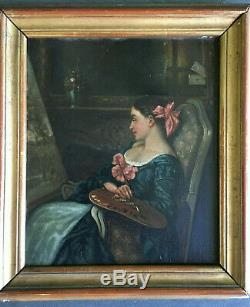 Portrait de femme artiste peintre à l'atelier XIX XX huile sur toile ancienne