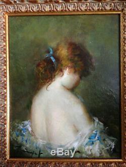 Portrait de femme nu de dos impressionniste XIX XX huile sur toile ancienne