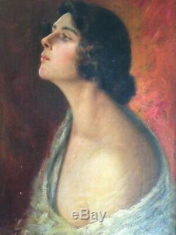 Portrait de femme symboliste XIX XX huile sur toile ancienne