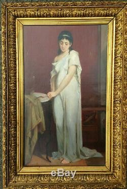 Portrait femme à l'oiseau huile sur toile ancienne XIX noble empire antique