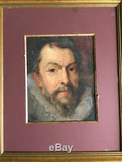 Portrait homme à la collerette huile sur toile ancienne XIX XVII noble