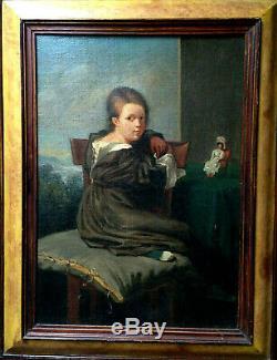 Portrait jeune fille à la poupée enfant jouet XIX huile sur toile ancienne noble