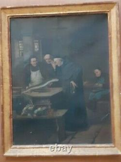 Rare Peinture Sur Toile Ancienne Moine Cuisinier 19ème Joseph Gallery New York