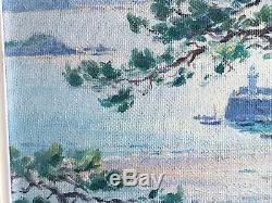 Rare huile sur panneau ancienne Léon Hamonet, Bretagne Erquy, marine
