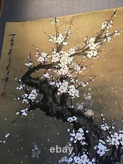 Rouleau Vertical Kakemono Ancien Japon Huile Sur Papier Cerisier En Fleurs Signé