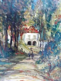 SOURDILLON Berthe (1895-1976) Civry Lavoir Huile sur toile ancienne 1941