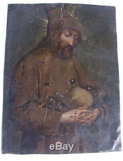 Saint Francois d Assises en prière ancien peinture sur cuivre 17eme 18eme