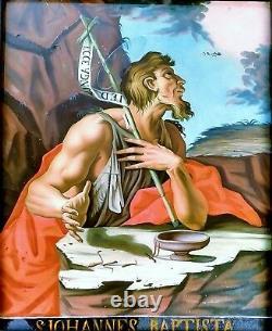 Saint Jean Baptiste. Peinture Sur Cristal. Ancien Cadre. Anonyme. Espagne. Xviiiè