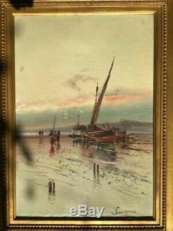 Savigny Henri Malfroy Pecheurs A Pied Etang De Berre Huile Sur Toile Ancienne