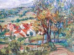 Sourdillon Berthe (1895-1976) Le Hameau Belle Huile Ancienne Sur Toile De 1930