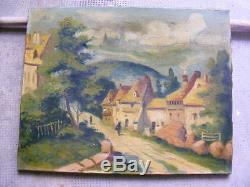 Superbe huile ancienne sur toile de vélin, Village animé, non signée, Barbizon