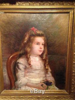 Superbe portrait enfant jeune fille impressionniste XIX ancien huile sur toile