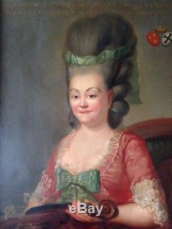 Superbe portrait femme XVIII violon instrument noble huile sur toile ancienne