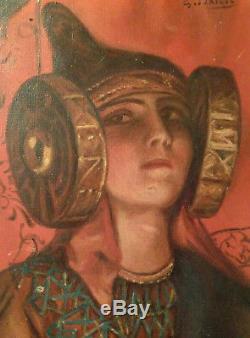 Superbe portrait femme symboliste dame elche orientaliste huile sur toile ancien