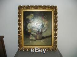 Superbe tableau ancien, Huile sur toile avec très beau cadre bois signé