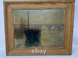 Sur la Seine & Sartrouville & Bateau & Huile sur Panneau & Peinture Ancienne
