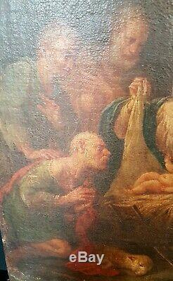 TABLEAU ANCIEN L'ADORATION DES BERGERS HUILE SUR TOILE XVIIème SIECLE