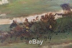 TABLEAU ANCIEN PAYSAGE BRETON TREGASTEL, MARINE, Huile sur panneau bois 2
