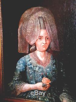TABLEAU ANCIEN PORTRAIT ÉPOQUE XVIIIème HUILE SUR TOILE RÈGNE LOUIS XVI