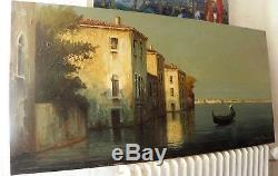 TABLEAU ancien, Huile Sur Toile signé E. MAURETTI, Venise Gondolier, 92cm x 46cm