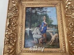 Tableau Ancien 1880 Alfred Louis Vigny Jacomin 1842-1913 Huile Sur Panneau Signe