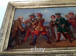 Tableau Ancien 18 19eme Huile sur toile scène Moyen ge musicien mariage 161b250