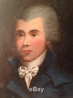 Tableau Ancien 18e Portrait Homme Huile Sur Toile XVIIIe