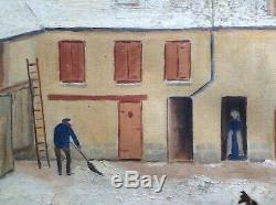 Tableau Ancien Art Naïf Cour de Ferme Enneigée Huile sur toile un air d'UTRILLO