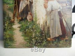 Tableau Ancien Fin XIX Siècle-couple D'amoureux-peinture A L'huile Sur Bois