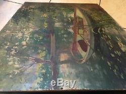 Tableau Ancien HST Paysage Barque à YERRES SUR SEINE Signé et daté 1914