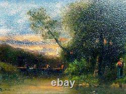 Tableau Ancien Huile Sur Bois Fin 19 Eme Debut 20 Eme Paysage Signature