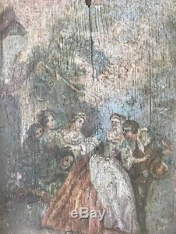 Tableau Ancien Huile Sur Bois Scène De Genre