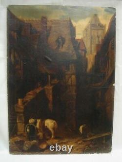 Tableau Ancien Huile Sur Papier- Scène de rue avec Animaux- XIXème