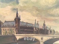 Tableau Ancien Huile Sur Toile Bord de Seine Paris Pont Napoléon C. MENEHOULD