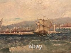 Tableau Ancien Huile Sur Toile HST XIX ème Marine Bateaux Port Mer Signé