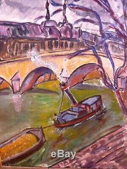 Tableau Ancien Huile Sur Toile Marine Bateau Pont Vue Citadine Paris Barge