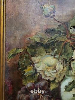 Tableau Ancien Huile Sur Toile Nature Morte Aux Fleurs Et Aux Fruits