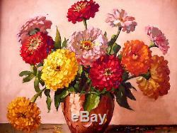 Tableau Ancien Huile Sur Toile Nature Morte Bouquet Fleurs Yvan Galle