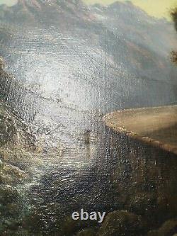 Tableau Ancien Huile Sur Toile Paysage De Montagne Lumière Dlg Godchaux 19 Eme