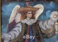 Tableau Ancien Huile Sur Toile Portrait Ange Raphaël École Cuzco Signé Cadre