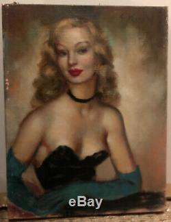 Tableau Ancien Huile Sur Toile Portrait De Femme Signé G Nivert