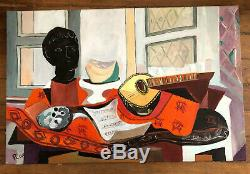 Tableau Ancien Huile Sur Toile Signé Picasso Nature Morte A La Mandoline