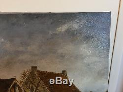 Tableau Ancien Huile Sur Toile Signée HECTOR VAN MEER (début XXe-s) BOURG
