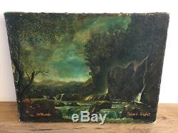 Tableau Ancien Huile Sur Toile Signée ROLAND OUDOT (1897-1981) paysage rivière