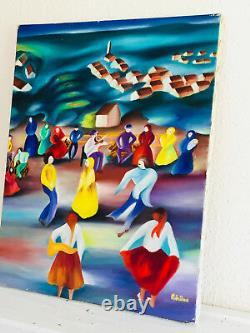 Tableau Ancien Huile Sur Toile Signée SHERIF MERIEME 1986 (XXe-s) danse