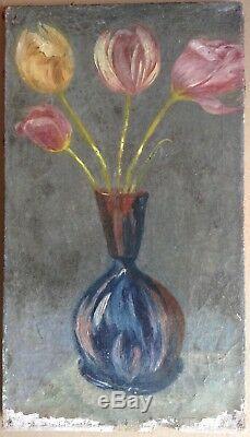 Tableau Ancien Huile style Kees Van DONGEN Vase de Tulipes sur fond gris c1900