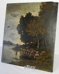 Tableau Ancien Huile sur Panneau signé Ch. Jacque Barbizon XIXème 19th