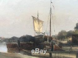 Tableau Ancien Huile sur Papier Paysage Péniche Canal de lOurcq Gabriel Prieur