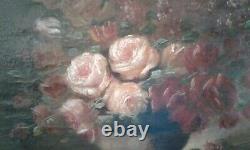 Tableau Ancien Huile sur Toile nature morte Bouquet de roses et lilas 19 ème